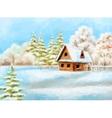 Winter Landscape Rustic House vector image