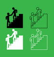 man helping climb other man icon black and white vector image