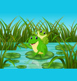 river scene with happy frog on leaf vector image