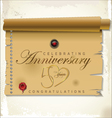 50 years anniversary old paper vector image vector image