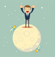 a man in a business suit conquered the moon vector image