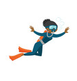 african-american scuba diver enjoying the dive vector image vector image
