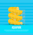 aquapark poster with water slide vector image