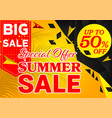 banner summer sale special offer black and yellow vector image