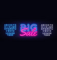 big sale neon text design template big vector image