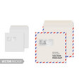 blank square envelope with window on white vector image vector image