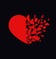 broken heart icon unhappy relationship sign vector image vector image