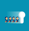 business team running to large keyhole concept vector image