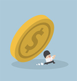 Businessman running away from falling dollar coin vector image