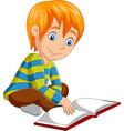 cartoon little boy reading open book sitting vector image vector image