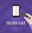 checklist in smartphone with ticks vector image