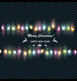 christmas glowing garland on a dark background vector image vector image
