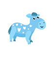 cute cartoon blue donkey with hearts on its body vector image