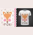 cute fox - idea for print t-shirt vector image vector image