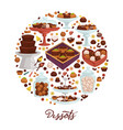 desserts chocolate and sweets cakes and candies vector image
