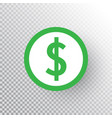dollar sign icon on transparent background green vector image vector image