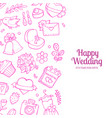 doodle wedding with place for text vector image vector image