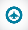 fighter airplane icon bold blue circle border vector image vector image