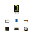 flat icon device set of bobbin transistor vector image vector image
