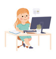 girl sitting at her desk and studying online using vector image