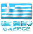 Greece flag in different design vector image vector image