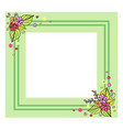 green frame with flowers on vector image