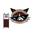grumpy cat holds finger up rock sign vector image vector image