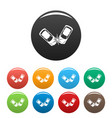 hard collision icons set color vector image vector image