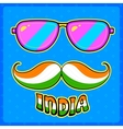 Indian kitsch style mustache and glasses vector image vector image