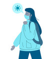 infected virus girl in face medical mask carrier vector image