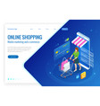 isometric smart smartphone online shopping concept vector image