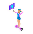isometric young girl shoots video and communicates vector image