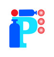 letter p logo in and isolated in white vector image