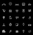 Media marketing line icons on black background vector image vector image