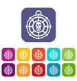 pirate amulet icons set vector image vector image