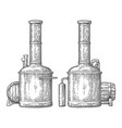 row of tanks and wooden barrel in brewery beer vector image vector image