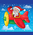 santa claus in plane theme image 3 vector image