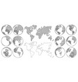 sketch map hand drawn earth globe drawing world vector image vector image