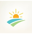 sun and water waves simple icon vector image vector image
