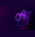 tablet and gears low poly vector image vector image