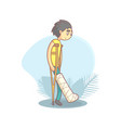 teenage boy walking on crutches with broken leg vector image vector image
