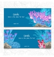 Two horizontal card with corals and coelenterates vector image vector image