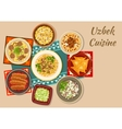Uzbek cuisine dinner with asian dishes icon vector image vector image