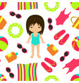 vacation seamless beach pattern vector image vector image