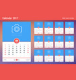 wall calendar planner template for 2017 year week vector image vector image