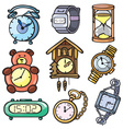 Watches and clock icons set vector image vector image