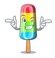 wink character beverage colorful ice cream stick vector image vector image