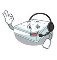 with headphone mattress in cartoon on the shape vector image