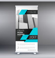 modern blue standee roll up banner design with vector image