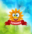 summer background with smiling sun vector image